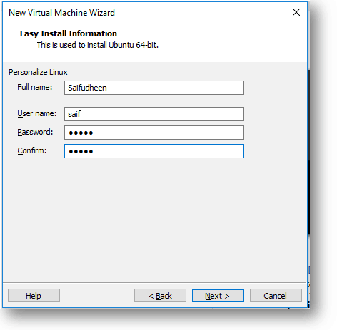 specify the credentials for the ubuntu vm