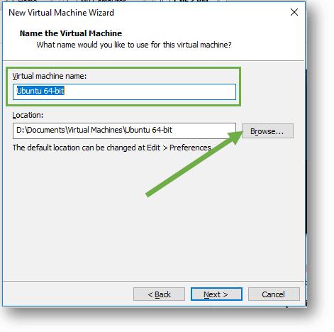 Name the vmware workstation ubuntu virtual machine
