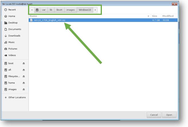 select windows 10 iso image in kvm