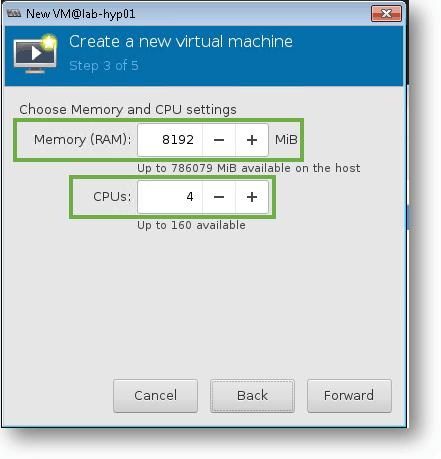 define the windows 10 kvm storage and cpu
