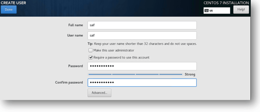 user credentials in Centos vm