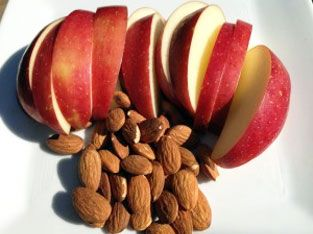 Apple and almonds for a snack