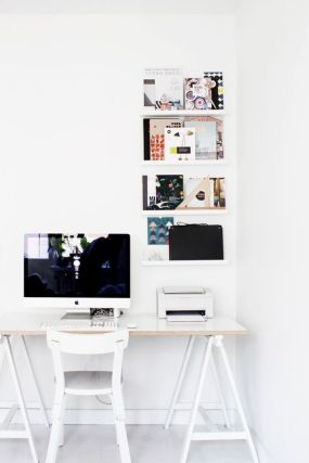 Shelves help to organize your things in a stylish way.