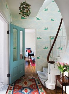 Green stairs in a beacon hill townhouse.