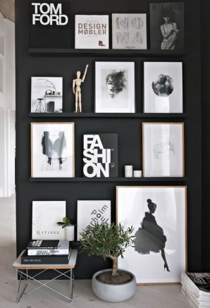 Hang artwork on floating shelves.