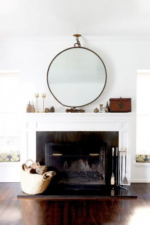 A modestly styled contemporary fireplace.