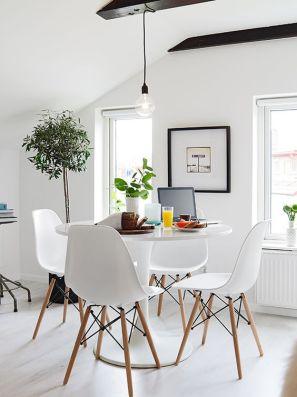 A cozy, contemporary dining nook.