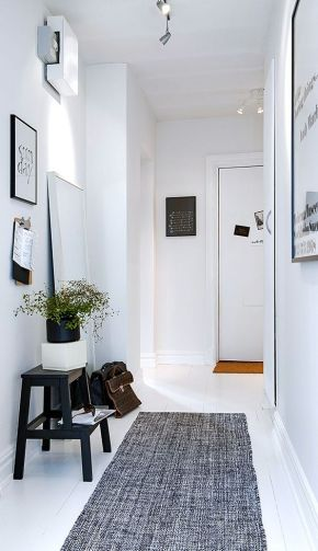 Runner rug placed in an narrow hallway.