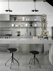 To complete an urban kitchen, add distinctive hanging lights that are not too lengthy or sparkly.