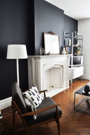 Stand out with black walls and a white mantel.