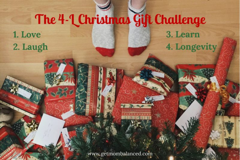 Christmas shopping is simplified with the 4-L Christmas Gift Challenge. Buy only 4 gifts, or make sure they fall into one of the 4 categories.