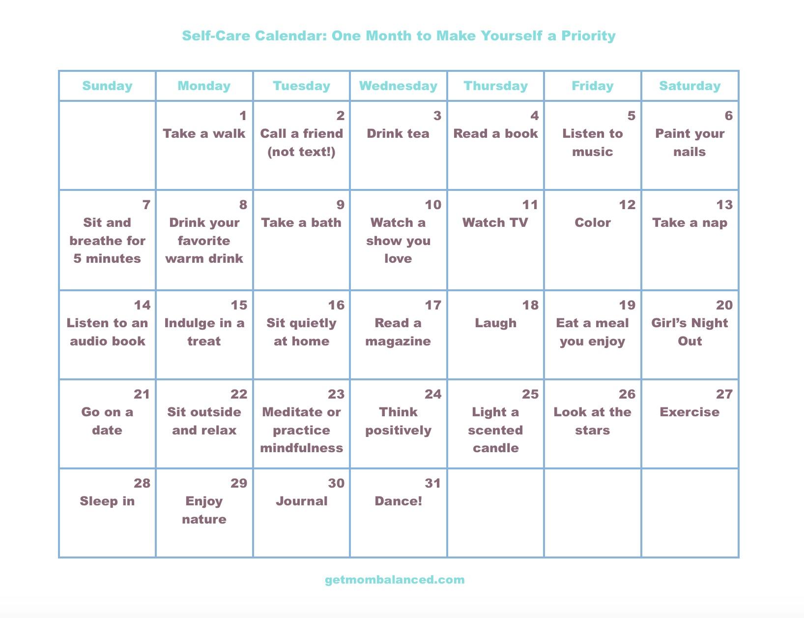 Self Made Calendar : Self care calendar for busy moms and women get mom balanced
