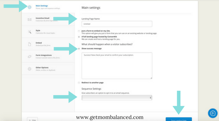 Main settings creating a landing page in ConvertKit