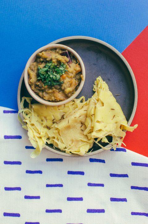 Shot of Malaysian Roti and Dal Curry - Munch