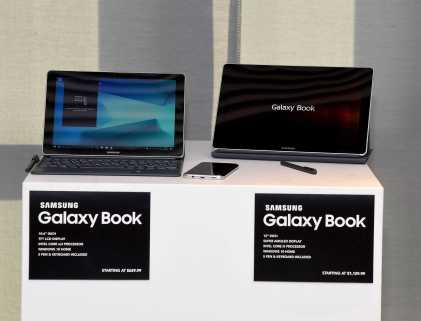 NEW YORK, NY - JUNE 14: The new Samsung Galaxy Book on display at the Samsung Galaxy Book Launch at Samsung 837 on June 14, 2017 in New York City. (Photo by Jamie McCarthy/Getty Images for Samsung)