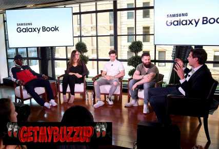 NEW YORK, NY - JUNE 14: Lil Yachty,Players' Tribune founder Jaymee Messler, APL Founders Ryan Goldston and Adam Goldston, and Steve Bertoni of Forbes speak at the Samsung Galaxy Book Launch at Samsung 837 on June 14, 2017 in New York City. (Photo by Jamie McCarthy/Getty Images for Samsung)