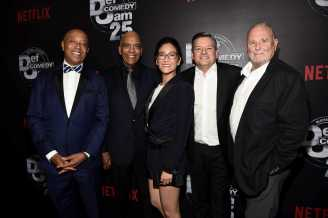 Russell Simmons, Stan Lathan, Lisa Nishimura, Ted Sarandos, Sandy Wernick arrive at Def Comedy Jam 25, A Netflix Original Comedy Event, in Beverly Hills on Sunday September 10th.