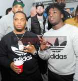 """NEW YORK, NY - OCTOBER 26: Don Q (L) attends the Launch Of Pusha T's Latest Collaboration With adidas Originals, KING PUSH X ADIDAS ORIGINALS EQT """"BODEGA BABIES"""" on October 26, 2017 in New York City. (Photo by Brad Barket/Getty Images for adidas) *** Local Caption *** Don Q"""