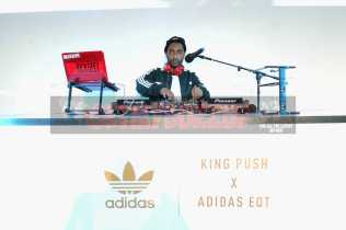 """NEW YORK, NY - OCTOBER 26: Rick Geez Djs at the Launch Of Pusha T's Latest Collaboration With adidas Originals, KING PUSH X ADIDAS ORIGINALS EQT """"BODEGA BABIES"""" on October 26, 2017 in New York City. (Photo by Brad Barket/Getty Images for adidas) *** Local Caption *** Rick Geez"""