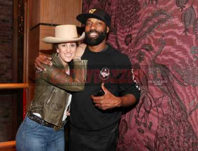 LOS ANGELES, CA - NOVEMBER 02: Tao Group Director of Entertainment Marketing Deb Fass (L) and Baron Davis attend The MVP Experience Launch Dinner hosted by The House of Remy Martin at Tao on November 2, 2017 in Los Angeles, California. (Photo by Jerritt Clark/Getty Images for Remy Martin)