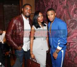 LOS ANGELES, CA - NOVEMBER 02: Adrienne Mason, Roger Mason Jr. and Jack McClinton attend The MVP Experience Launch Dinner hosted by The House of Remy Martin at Tao on November 2, 2017 in Los Angeles, California. (Photo by Jerritt Clark/Getty Images for Remy Martin)