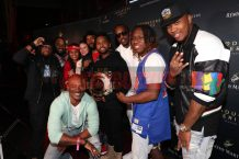 LAS VEGAS, NV - NOVEMBER 09: (L-R) Tha Kraken, Rap920, Tay Svpreme, Big Tigger (below), Rebe Espinosa, Taco Manning, Zaytoven, Theo Brown, Prodig-E, and Severe Jones attend The Remy Martin Producers Series Season 4 Finale on November 9, 2017 in Las Vegas, Nevada. (Photo by Johnny Nunez/Getty Images for Remy Martin)