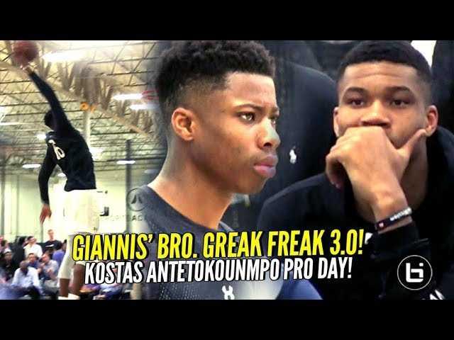 Giannis Watches Lil Bro Kostas Antetokounmpo PRO-DAY WORKOUT In Front of Magic Johnson & NBA Execs!