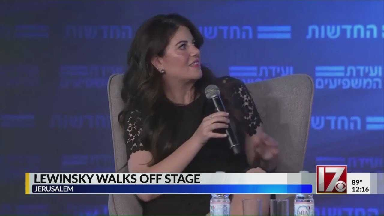 Monica Lewinsky leaves on-stage interview after Clinton question