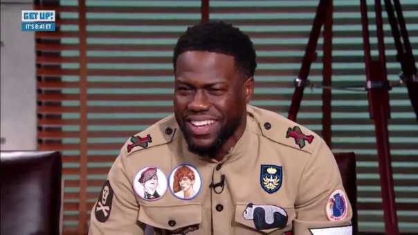 Kevin Hart Reacts to Kawhi Leonard's Laugh on Media Day