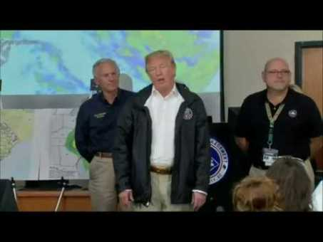 Trump tours SC's Conway, warns flooding on the way