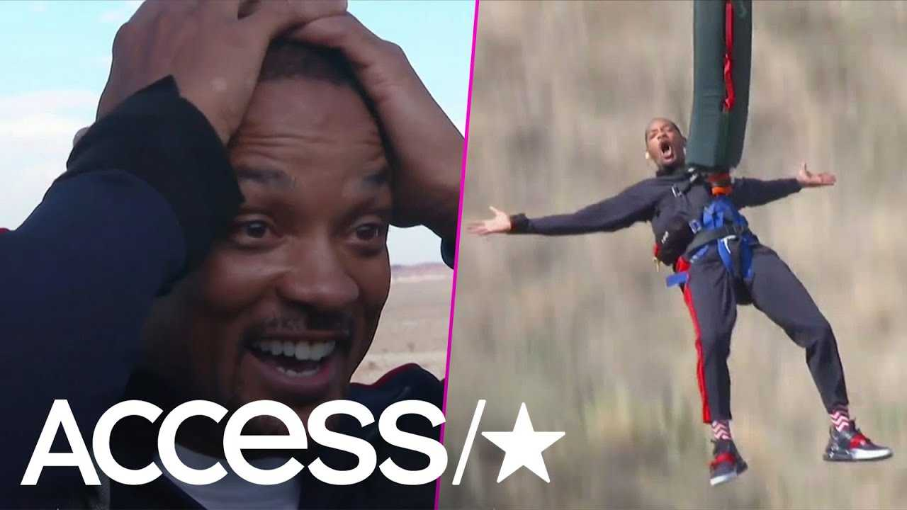 Will Smith Bungee Jumps Out Of A Helicopter & Into The Grand Canyon For His 50th Birthday | Access