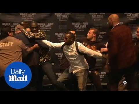 Wilder and Fury LA press conference abandoned after getting out of control