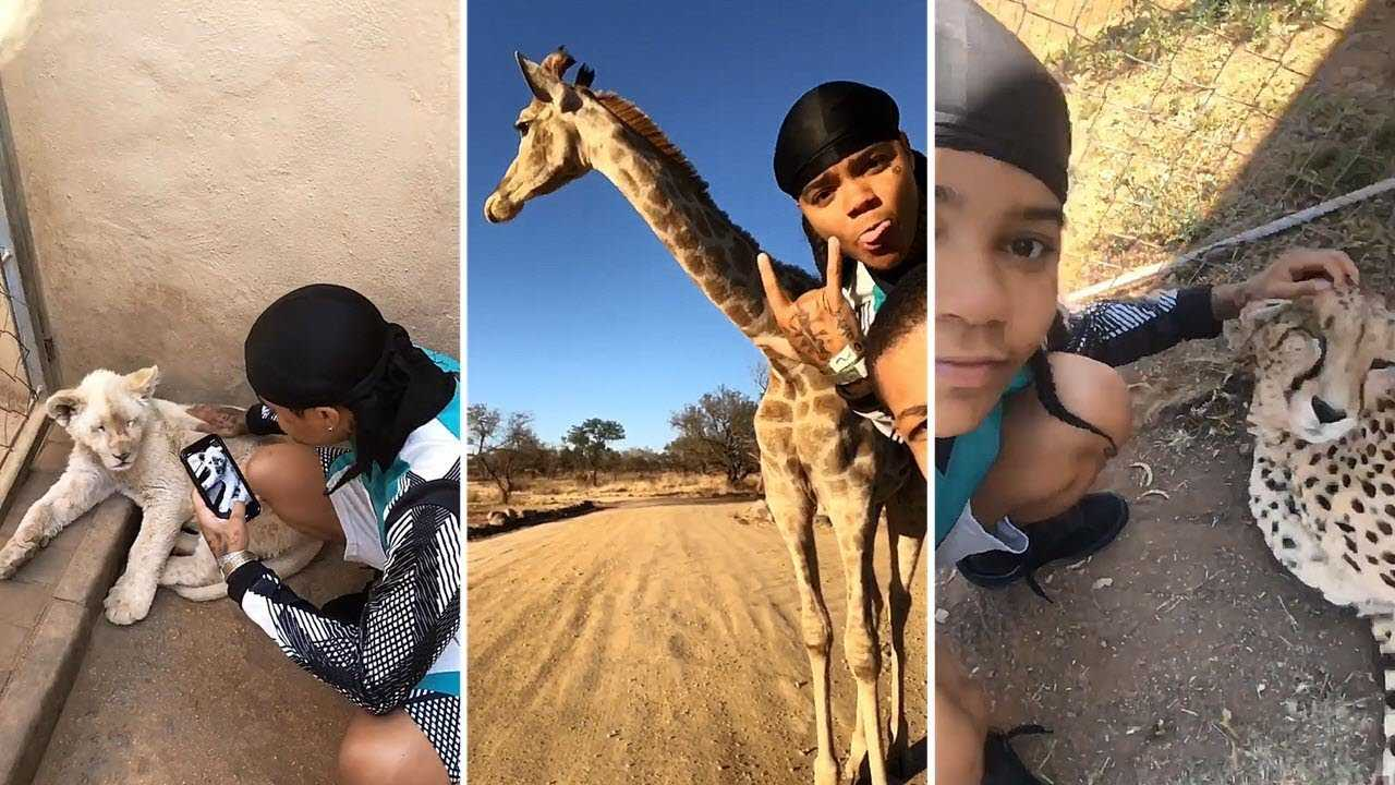 Young MA Gets Up Close & Personal With Wild Animals In South African Safari