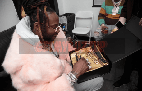 "Grammy winning rapper 2 Chainz is presented with a Courvoisier® customized collar for his french bulldog, Trappy. Courvoisier Cognac ""Winner's Circle"" event included a special performance by 2 Chainz and specialty cocktails throughout the event on Friday, February 1, 2019 at Revel in Atlanta."