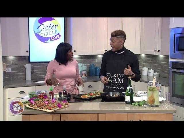 Sister Circle | Chef Cam #NationalApricotDay - Pepper Shrimp Apricot Flatbread