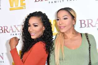"""WEST HOLLYWOOD, CALIFORNIA - APRIL 02: (L-R) Jazz Buddafly and Amina Buddafly are seen as We TV celebrates the premiere of """"Braxton Family Values"""" at Doheny Room on April 02, 2019 in West Hollywood, California. (Photo by Earl Gibson III/Getty Images for WE tv )"""