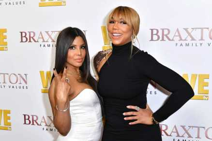 "WEST HOLLYWOOD, CALIFORNIA - APRIL 02: (L-R) Toni Braxton and Tamar Braxton are seen as We TV celebrates the premiere of ""Braxton Family Values"" at Doheny Room on April 02, 2019 in West Hollywood, California. (Photo by Earl Gibson III/Getty Images for WE tv )"