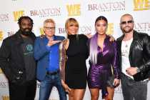 """WEST HOLLYWOOD, CALIFORNIA - APRIL 02: (L-R) Ricky Williams, Kato Kaelin, Tamar Braxton, Natalie Eva Marie, and Joey Lawrence are seen as We TV celebrates the premiere of """"Braxton Family Values"""" at Doheny Room on April 02, 2019 in West Hollywood, California. (Photo by Earl Gibson III/Getty Images for WE tv )"""