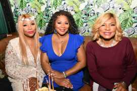 "WEST HOLLYWOOD, CALIFORNIA - APRIL 02: (L-R) Traci Braxton, Trina Braxton, and Evelyn Braxton are seen as We TV celebrates the premiere of ""Braxton Family Values"" at Doheny Room on April 02, 2019 in West Hollywood, California. (Photo by Earl Gibson III/Getty Images for WE tv )"