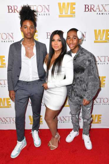 "WEST HOLLYWOOD, CALIFORNIA - APRIL 02: (L-R) Diezel Ky Braxton-Lewis, Toni Braxton, and Denim Cole Braxton-Lewis are seen as We TV celebrates the premiere of ""Braxton Family Values"" at Doheny Room on April 02, 2019 in West Hollywood, California. (Photo by Earl Gibson III/Getty Images for WE tv )"