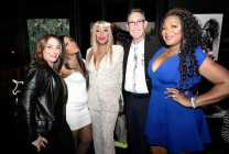 "WEST HOLLYWOOD, CALIFORNIA - APRIL 02: (L-R) Lauren Gellert, Toni Braxton, Traci Braxton, Marc Juris, and Trina Braxton are seen as We TV celebrates the premiere of ""Braxton Family Values"" at Doheny Room on April 02, 2019 in West Hollywood, California. (Photo by Earl Gibson III/Getty Images for WE tv)"