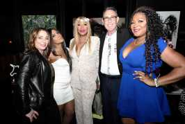 """WEST HOLLYWOOD, CALIFORNIA - APRIL 02: (L-R) Lauren Gellert, Toni Braxton, Traci Braxton, Marc Juris, and Trina Braxton are seen as We TV celebrates the premiere of """"Braxton Family Values"""" at Doheny Room on April 02, 2019 in West Hollywood, California. (Photo by Earl Gibson III/Getty Images for WE tv)"""