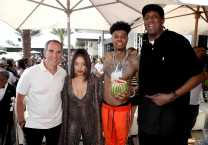 "COACHELLA, CALIFORNIA - APRIL 14: (L-R) Monte Lipman, Kiana Ledé, Blueface, and Ronald ""Slim"" Williams attend Republic Records Celebrates Their Class Of 2019 In Coachella Valley at Zenyara on April 14, 2019 in Coachella, California. (Photo by Randy Shropshire/Getty Images for Republic Records)"
