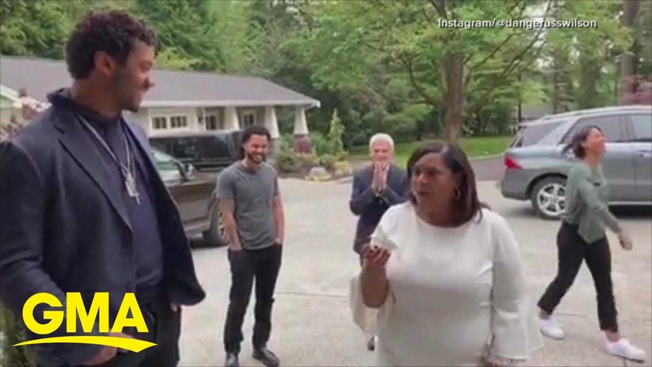 Russell Wilson gives his mom the ultimate Mother's Day surprise
