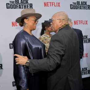 "LOS ANGELES, CALIFORNIA - JUNE 03: Queen Latifah and Quincy Jones attend Netflix world premiere of ""THE BLACK GODFATHER at the Paramount Theater on June 03, 2019 in Los Angeles, California. (Photo by Charley Gallay/Getty Images for Netflix)"