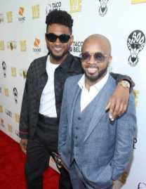 """Usher and Jermaine Dupri pose on the red carpet at WE tv's """"Power, Influence & Hip Hop: The Remarkable Rise Of So So Def"""" and Season 3 of """"Growing Up Hip Hop Atlanta"""" celebration at The London West Hollywood on July 16, 2019 in West Hollywood, California."""