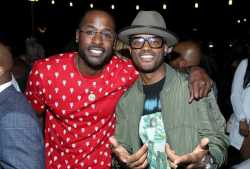 """Jackie Long and Larenz Tate enjoy the afterparty at WE tv's """"Power, Influence & Hip Hop: The Remarkable Rise Of So So Def"""" and Season 3 of """"Growing Up Hip Hop Atlanta"""" celebration at The London West Hollywood on July 16, 2019 in West Hollywood, California."""