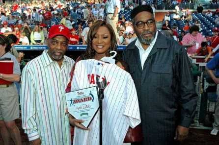 Receiving the Gamble & Huff Community Service Award at the Annual Phillies African American Heritage Celebration at Citizens Bank Park.