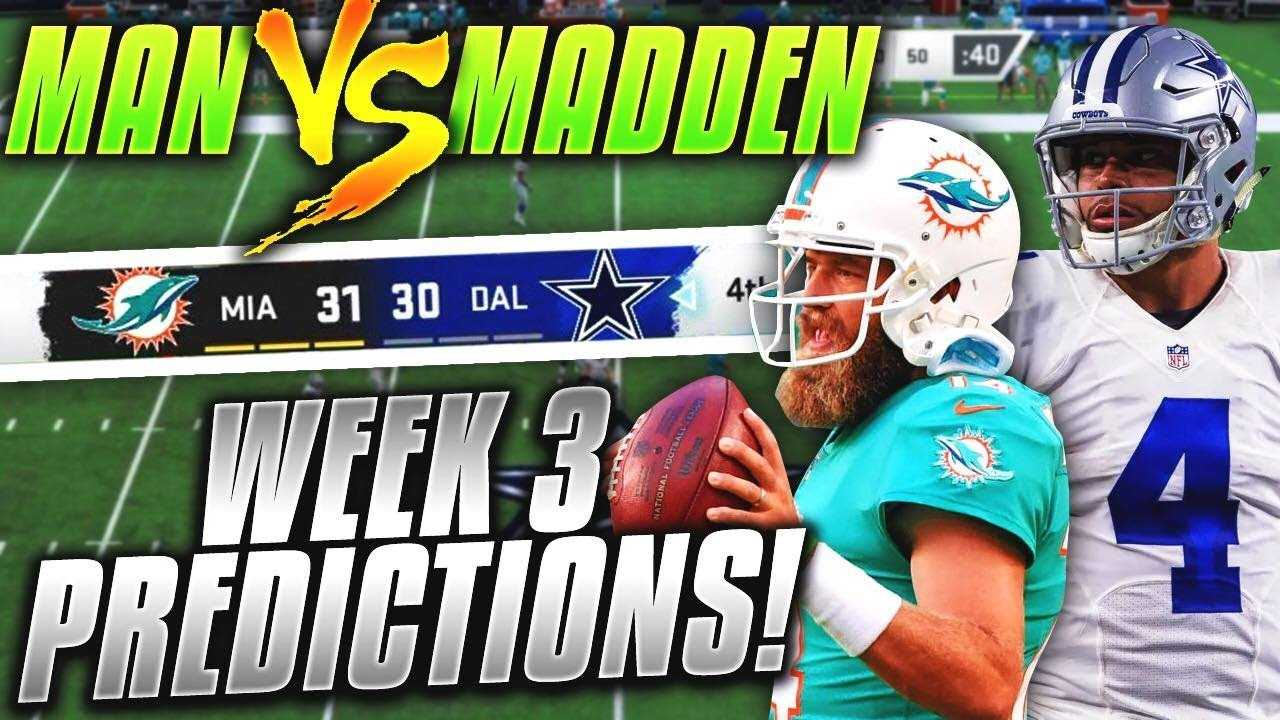 Predicting Every NFL Week 3 Winner... CAN THE DOLPHINS AND JETS SHOCK US?   Man vs Madden 2019
