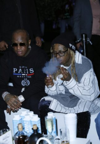 "MIAMI, FLORIDA - FEBRUARY 01: Mack Maine and Lil Wayne attends Lil Wayne's ""Funeral"" album release party on February 01, 2020 in Miami, Florida (Photo by Jeff Schear/Getty Images for Young Money/Republic Records)"